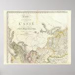 Turquía, Rusia y mapa grabado Asia Póster