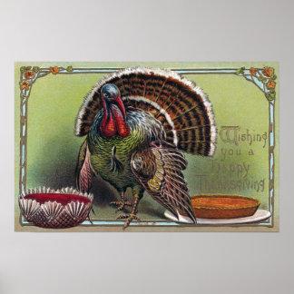 Turquía, salsa de arándano y acción de gracias del póster