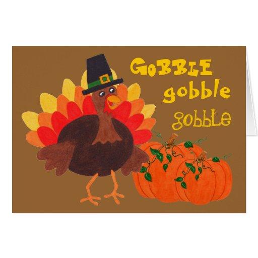 Turquía y calabazas felices - tarjeta de felicitac