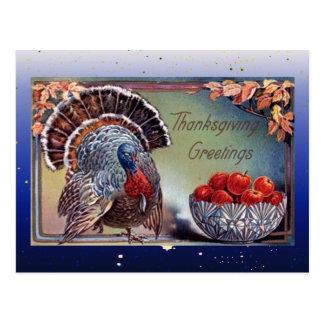 Turquía y cuenco clásicos de manzanas tarjeta postal