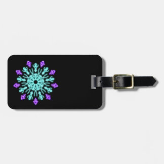 Turquiose and purple neon flower bag tag