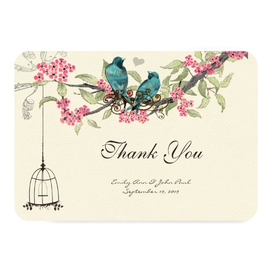 Turquiose Birds Pink Cherry Blossoms Birdcage Card