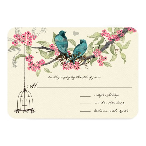 Turquiose Birds Pink Cherry Blossoms Birdcage 3.5x5 Paper Invitation Card