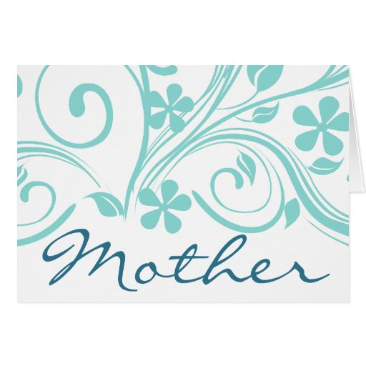 Turquiose Flowers Swirls Mother's Day Cards