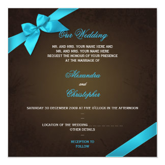 Turquiose Ribbon on Brown Grunge Wedding Custom Invitations