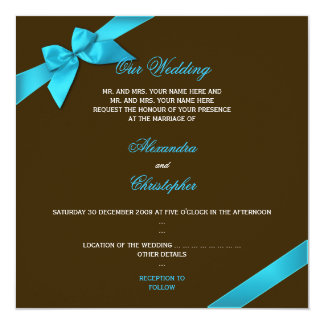 Turquiose Ribbon on Chocolate Brown Wedding Announcement