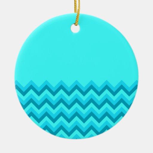 Turquiose Zig Zag Pattern. Part Plain. Christmas Ornament