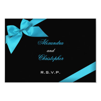 Turquise Ribbon Wedding RSVP 3.5x5 Paper Invitation Card