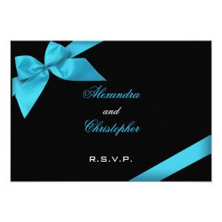 Turquise Ribbon Wedding RSVP Custom Invitation