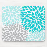 Turquoie blue gray dahlia desk office accessory mouse pads