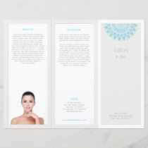 Turquois Mandala Lotus Spa Salon Tri-Fold Brochure