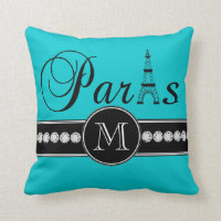 Turquoise 00c5cd Black Paris Monogrammed Throw Pillow
