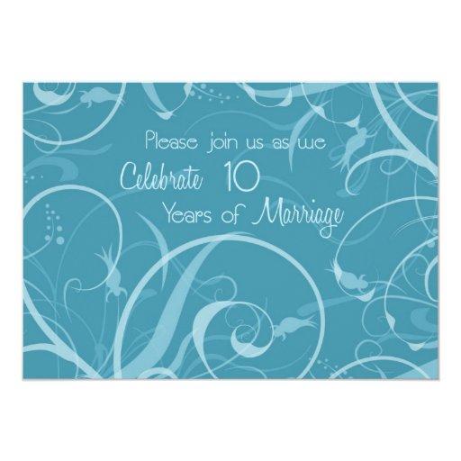 Turquoise 10th Wedding Anniversary Invitation