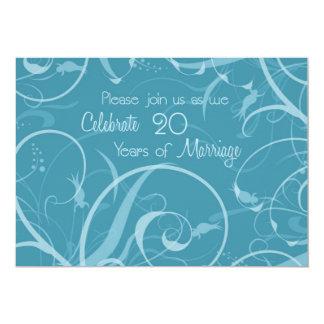 Turquoise 20th Wedding Anniversary Invitation