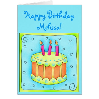 Turquoise 3rd Birthday Card with Cake