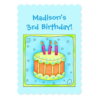 Turquoise 3rd Birthday Party Cake Invitation