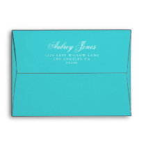 Turquoise A7 Pre-Addressed Linen Envelopes