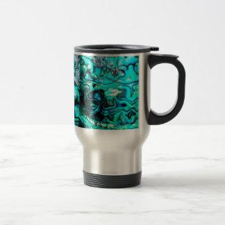 Turquoise abalone paua shell detail travel mug