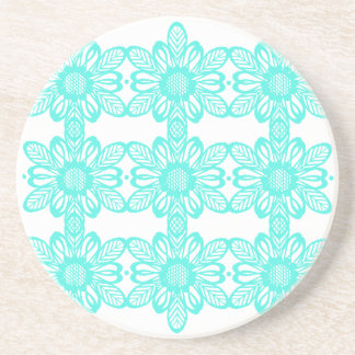 Turquoise abstract flowers coaster