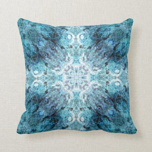 turquoise abstract with some soft blurred edges throw pillow