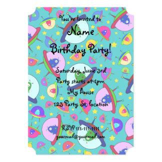 Turquoise alien spaceship pattern 5x7 paper invitation card