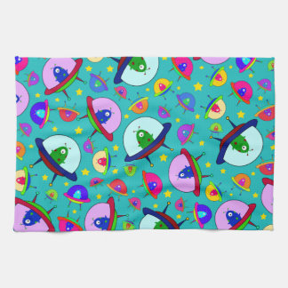 Turquoise alien spaceship pattern kitchen towel