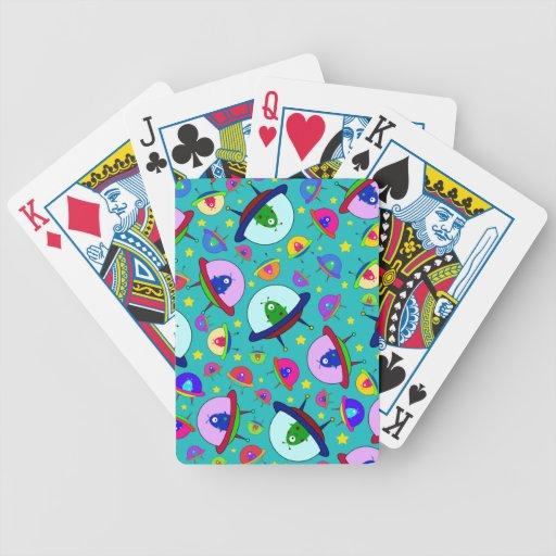 Turquoise alien spaceship pattern card deck