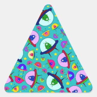 Turquoise alien spaceship pattern triangle sticker