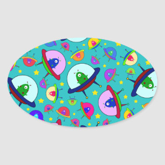 Turquoise alien spaceship pattern oval stickers