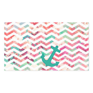 Turquoise Anchor Chevron Pink Chic Floral Pattern Double-Sided Standard Business Cards (Pack Of 100)