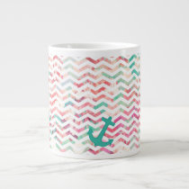 Turquoise Anchor Chevron Pink Chic Floral Pattern Giant Coffee Mug