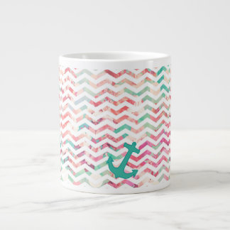 Turquoise Anchor Chevron Pink Chic Floral Pattern 20 Oz Large Ceramic Coffee Mug
