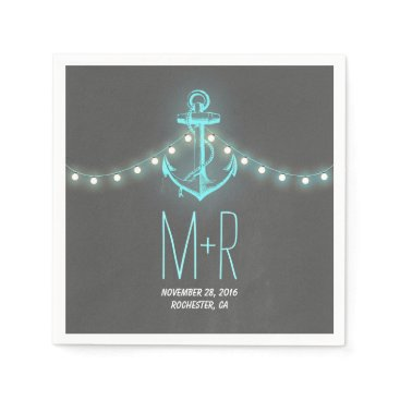 Beach Themed turquoise anchor nautical chalkboard wedding napkin