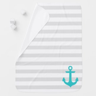 Turquoise Anchor on Gray Stripes Stroller Blanket
