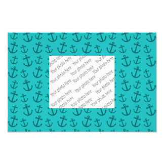 Turquoise anchor pattern photo art
