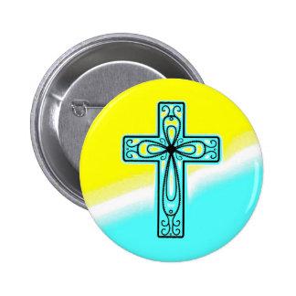 Turquoise Ancient Celtic Cross Design Button