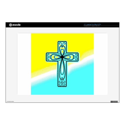 """Turquoise Ancient Celtic Cross Design Decal For 15"""" Laptop"""