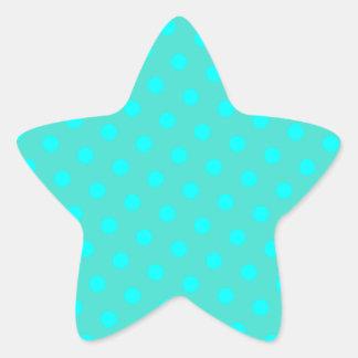 Turquoise and Aqua Polka Dots Star Sticker