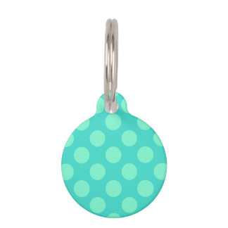 Turquoise and Aquamarine Dots Pet Nametags