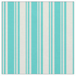 [ Thumbnail: Turquoise and Beige Colored Lines/Stripes Pattern Fabric ]