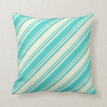 [ Thumbnail: Turquoise and Beige Colored Lines/Stripes Pattern Throw Pillow ]