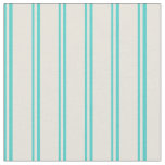[ Thumbnail: Turquoise and Beige Lined Pattern Fabric ]