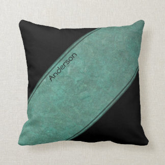 Turquoise and Black Angled with Your Signature Throw Pillow