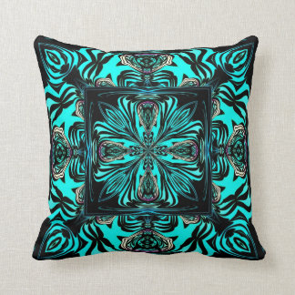 Turquoise and Black Attack American MoJo Pillow