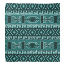 Turquoise And Black Aztec Pattern Bandanna
