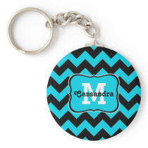 Turquoise and black chevron pattern monogram keychain