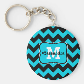 Turquoise and black chevron pattern monogram keychain