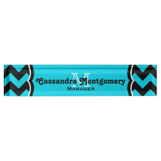 Turquoise and black chevron pattern monogram name plate