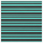 [ Thumbnail: Turquoise and Black Colored Lined/Striped Pattern Fabric ]
