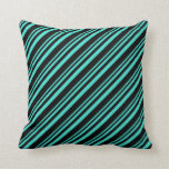 [ Thumbnail: Turquoise and Black Colored Lined/Striped Pattern Throw Pillow ]